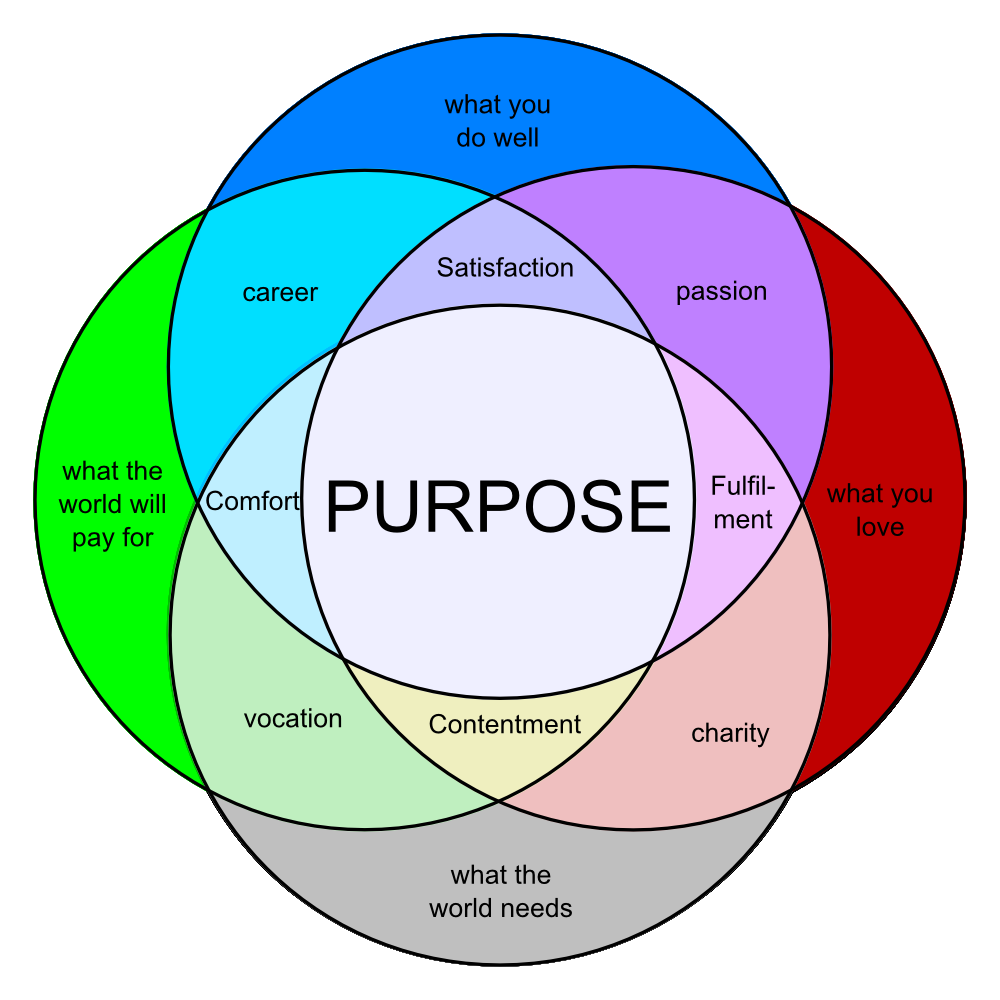 Finding Out Why Needing A Purpose Life Purpose Vision Board Inspiration Venn Diagram