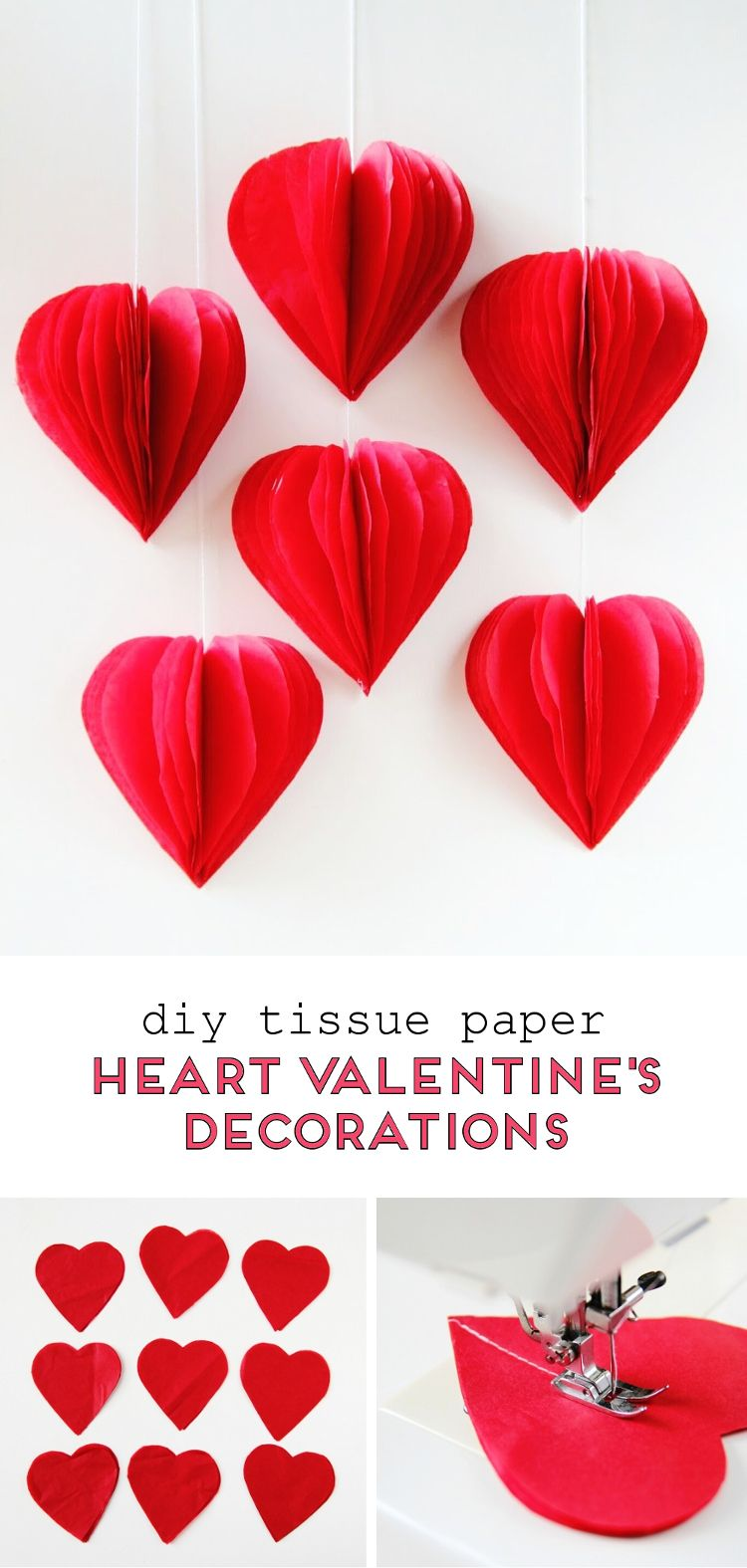 Diy 3d Valentine S Day Tissue Paper Heart Decorations Gathering Beauty Valentine Decorations Valentine Crafts Heart Decorations