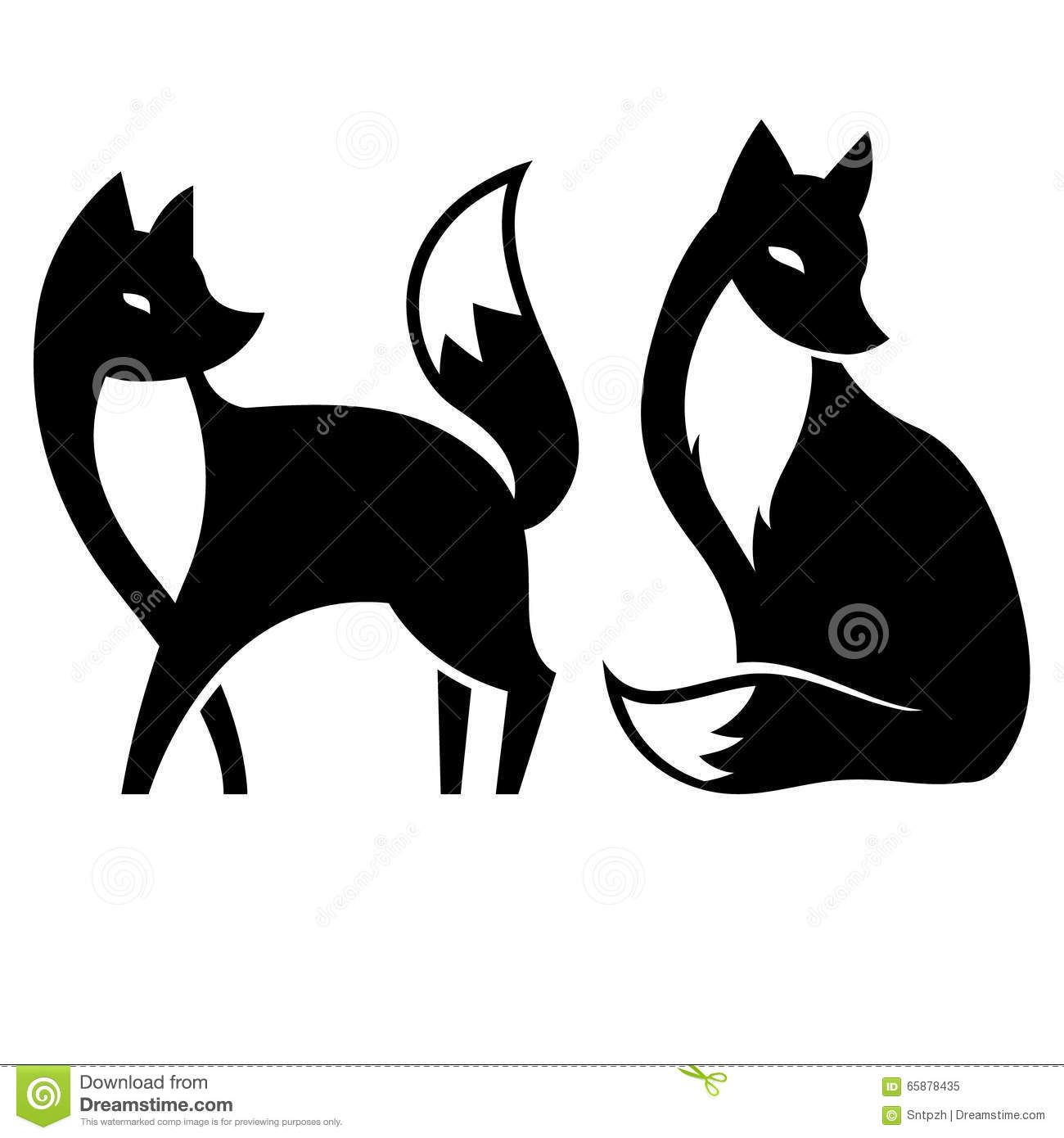 Vector Isolated Fox Black And White Fox Art Print Fox Silhouette Black And White Illustration
