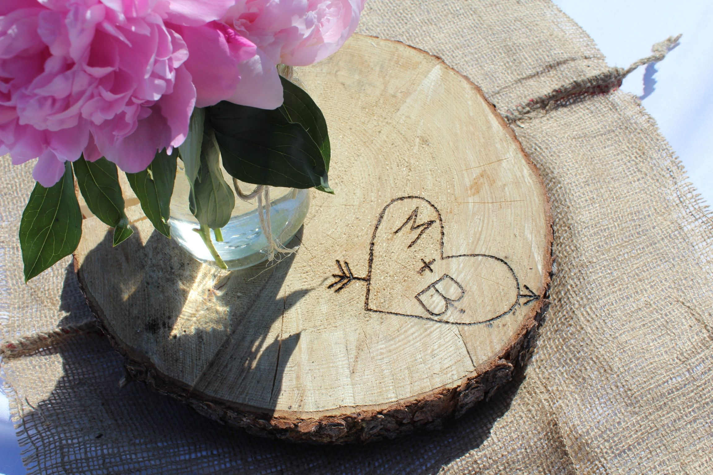 The wood discs for the center pieces came from our property in ...