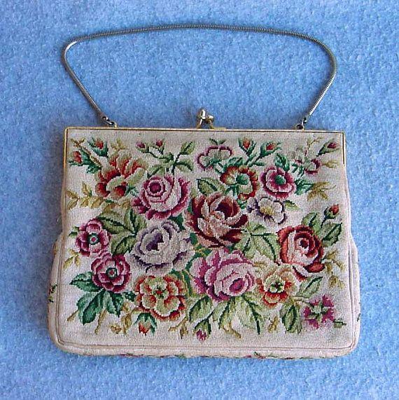 Rose Garden Petit Point Purse Embroidered Evening Bag Cream Background Vintage Handbag Gold Coil Chain Silk Mirror 50s Mauve Pink Green