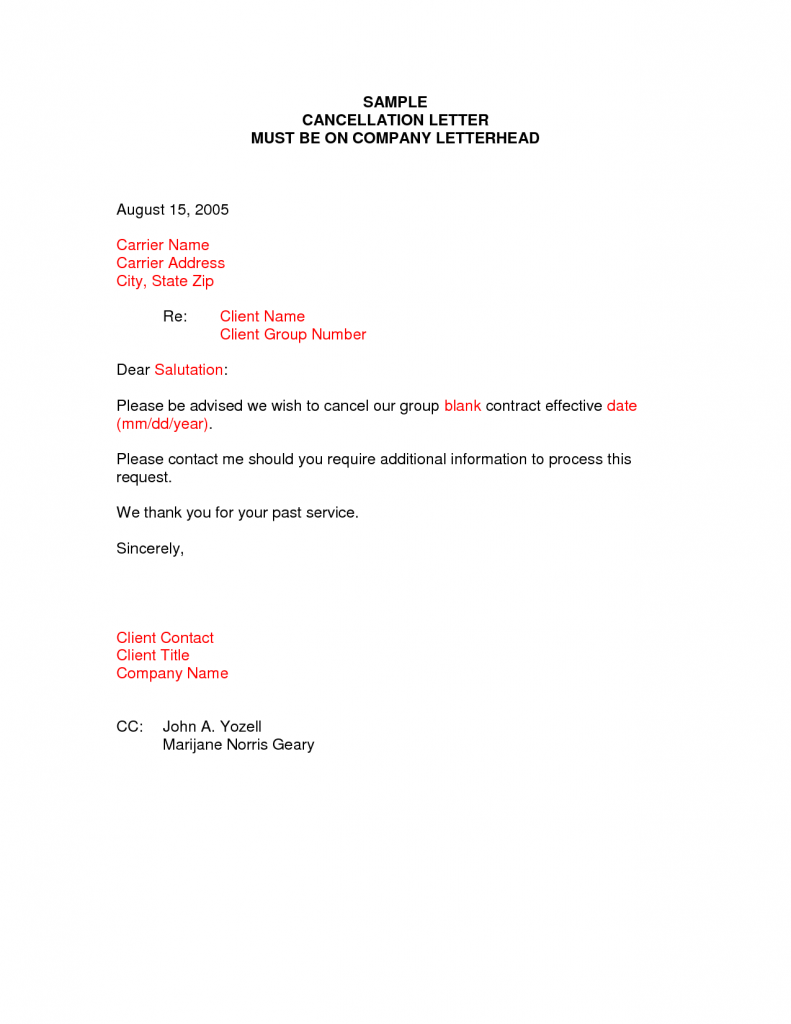 Cancellation Letter Samples Writing Professional Letters Sample
