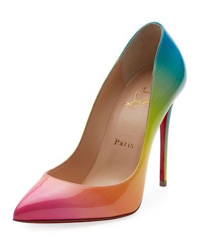 new concept e52aa b56d4 Christian Louboutin Pigalle Follies 100mm Ombre Patent Red ...