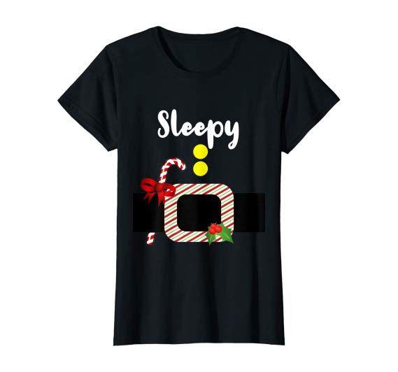 Amazon.com: Sleepy Dwarf Elf Gnome Christmas Matching Pajama Costume T-Shirt: Clothing  #christmas #gift #family #pajama #matching #dwarf #elf #gnome  #Happy #Dopey #Sneezy #Grumpy #Doc #Sleepy #Bashful  #costume #shirt #design #product #gnomecostume