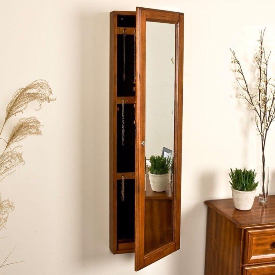 Harper Blvd Carson Oak Jewelry Armoire Decorative Full Length Mirror New