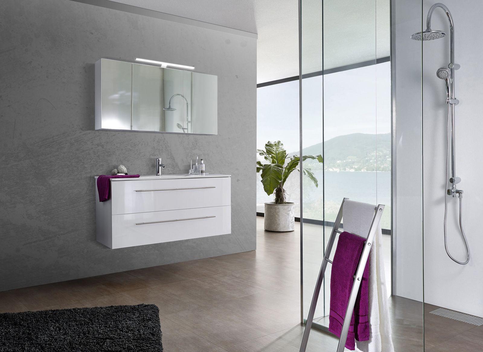 Badezimmer Komplettset ~ Sam® 2tlg. badezimmer set spiegelschrank weiß 120 cm verena auf