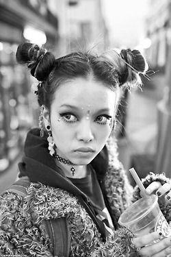 Black and White fashion street style Model Grunge portrait