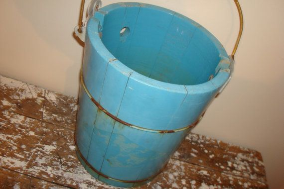 Old Wooden Ice Cream Maker Bucket by VintageShoppingSpree on Etsy