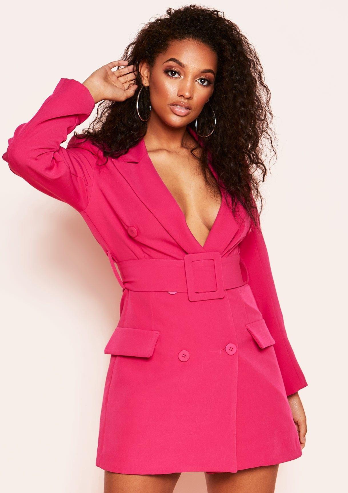 75221a0f78 Missyempire - Hena Hot Pink Belted Blazer Dress