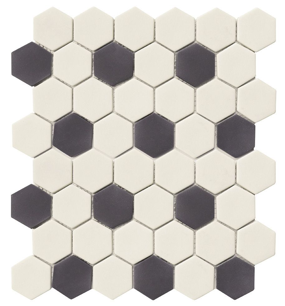 Eco Friendly Kitchen Flooring Recycled Hexagon Glass Tile Black White Is An Eco Friendly