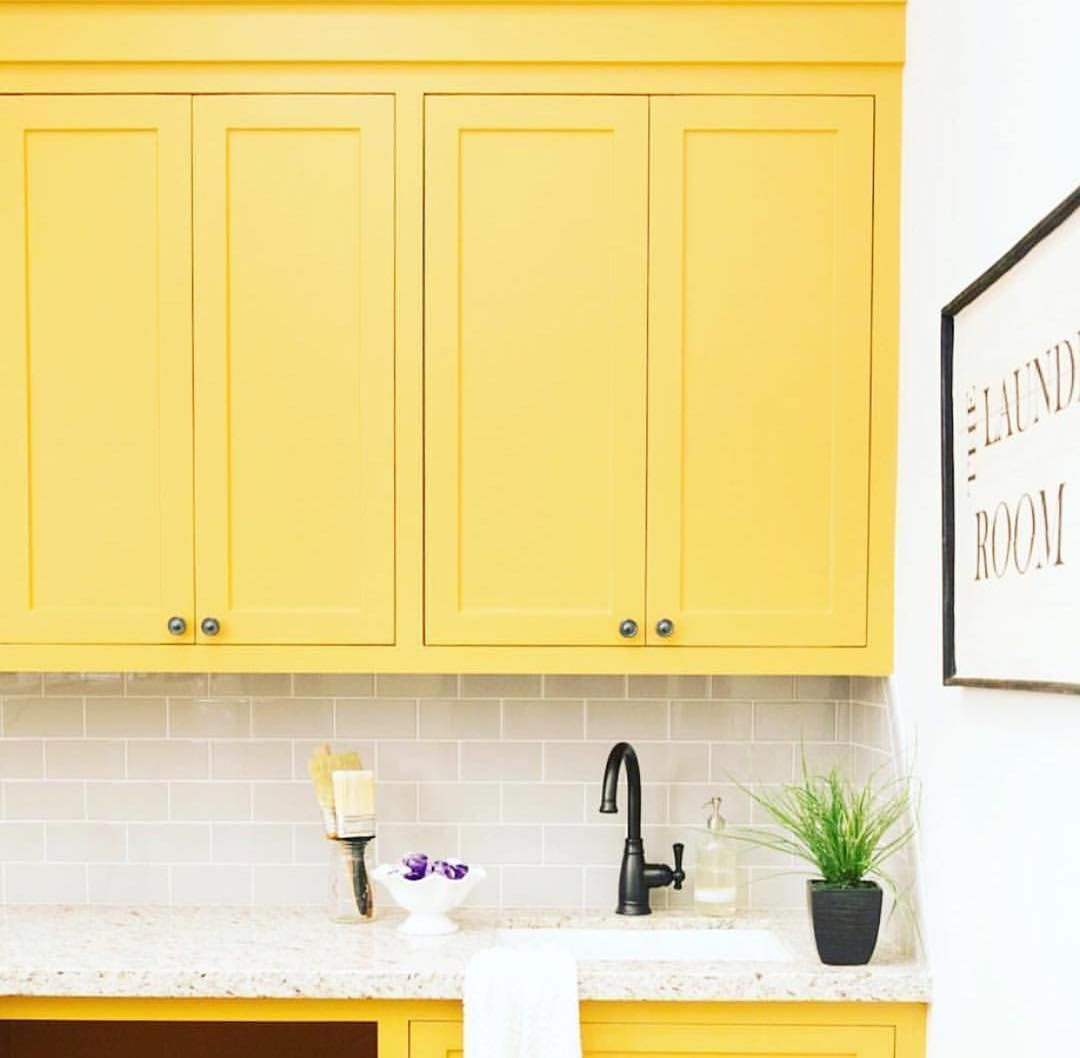 #COLOR TIP: kitchen cabinets are a great place to add a bolder color in your home. In this beautiful kitchen you can enjoy the energy of Spring and Summer all year long. Don't be afraid of decorating with a brighter color, when it can look this good!