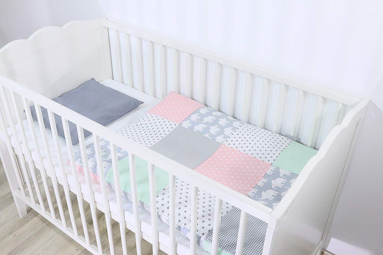 Ullenboom Baby Bedding Set Mint Pink Elephants 2 Piece Baby