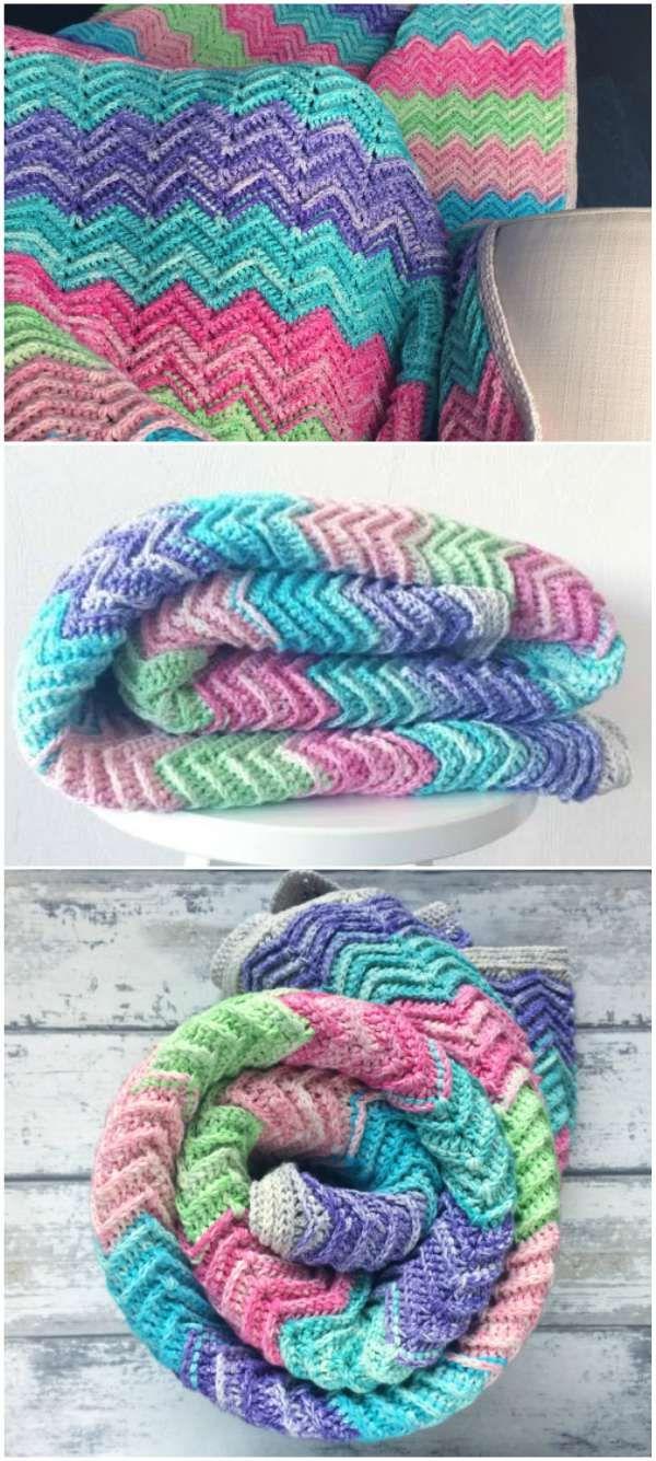 Chevron Crochet Blanket - Textured [Free Pattern]   Chevron crochet ...