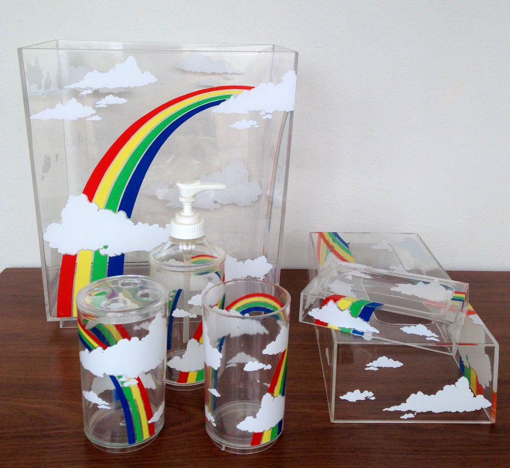 Rainbow Bathroom Accessories Set Vanity Decor Vintage 80s Thriftytrendzbyjuls