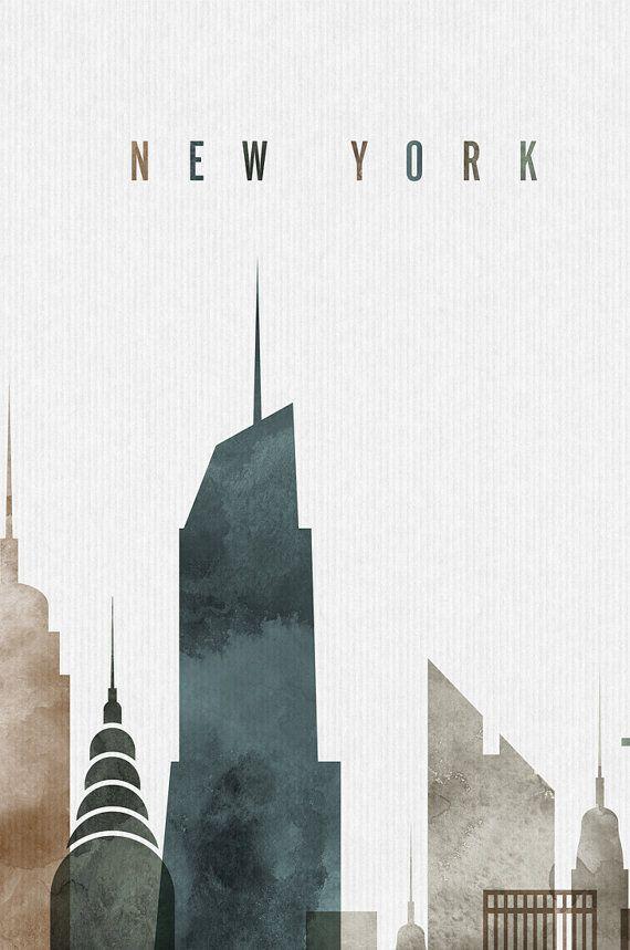 Nueva York Acuarela Arte Grabado Cartel Skyline Por Artprintsvicky