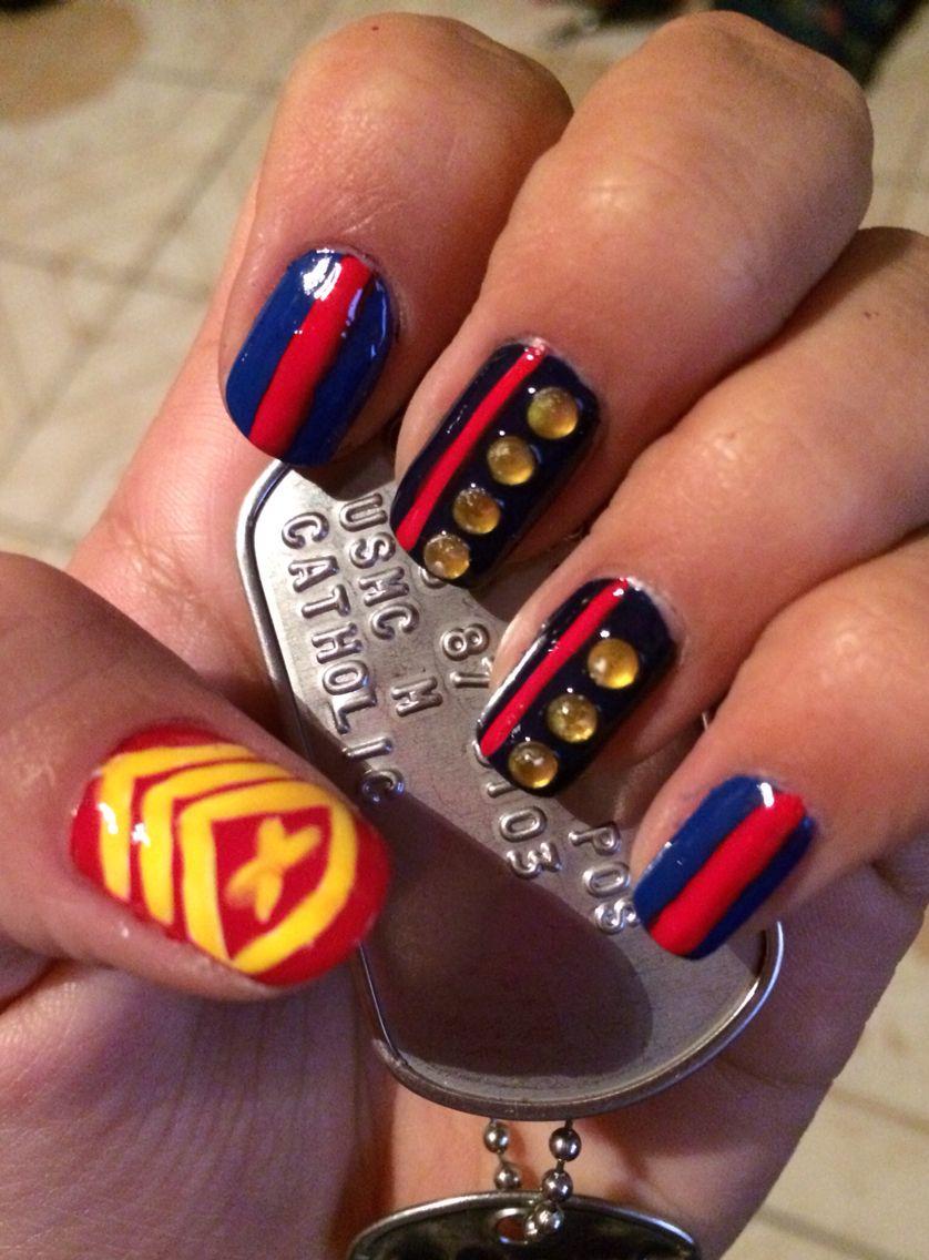 USMC nail art. | Nails | Pinterest | Usmc nails, USMC and Marine nails