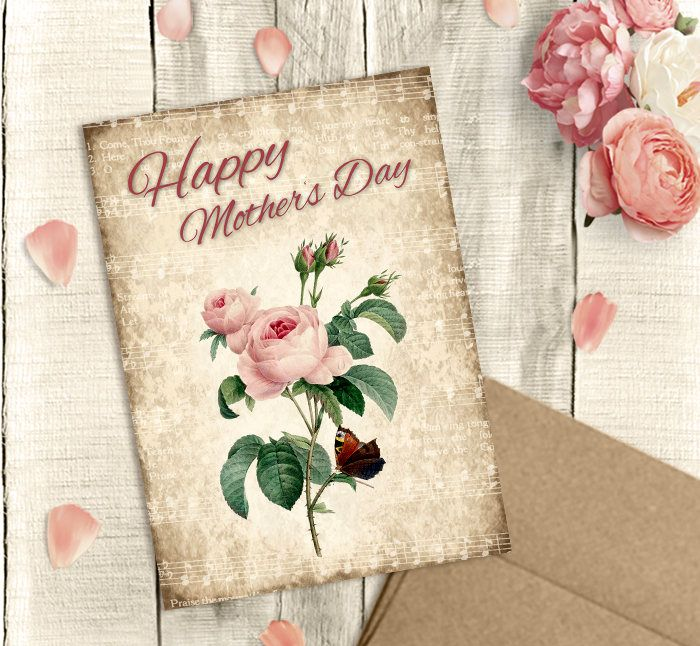 Mother S Day Card Printable Happy Mother S Day Vintage Rose Pdf