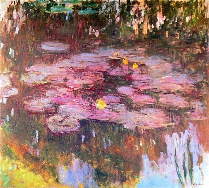 4-Inch 3dRose ct/_155655/_1 Water Lilies by Claude Monet-Impressionism-Impressionist Water Lilies on Pond-Famous Fine Art Ceramic Tile