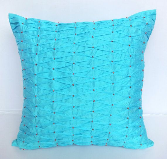 Light Blue silk throw pillow with pintucks and beadwork -18X18 inch