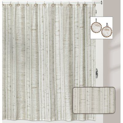 Millwood Pines Micaela Birch Shower Curtain Striped Shower