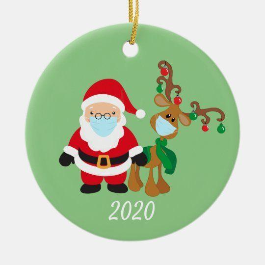 Christmas Face Mask Santa And Reindeer 2020 Ceramic Ornament Zazzle Com In 2020 Santa And Reindeer Christmas Ornaments Ornaments
