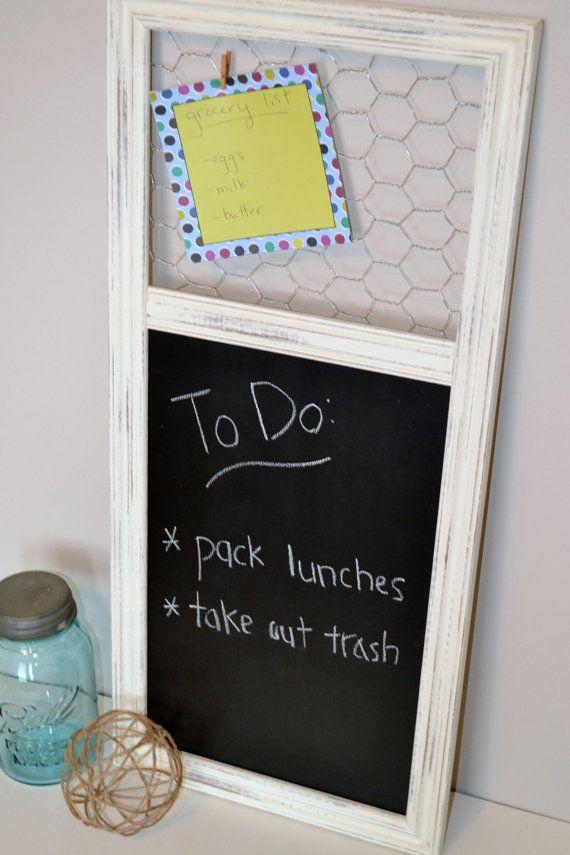 Cream Distressed Chalkboard/Chicken Wire Bulletin Board Combo ...