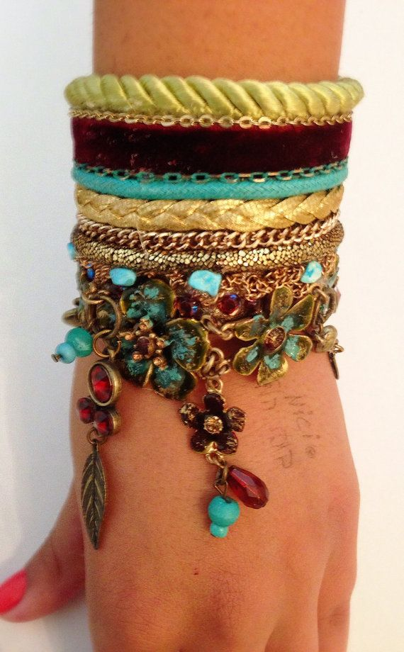 Boho chic Bracelet   maroon velvet and by RachelGefenDesigns