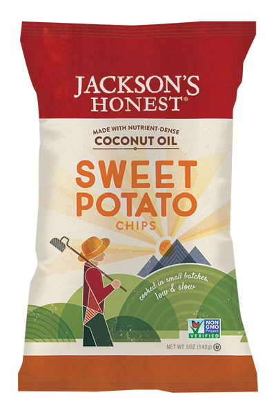 Jackson's Honest Sweet Potato Chips. Ingredients: sweet potato, coconut oil, salt