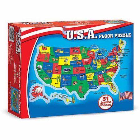 Melissa & Doug USA Map Floor Puzzle (51 pcs, 2 x 3 feet)