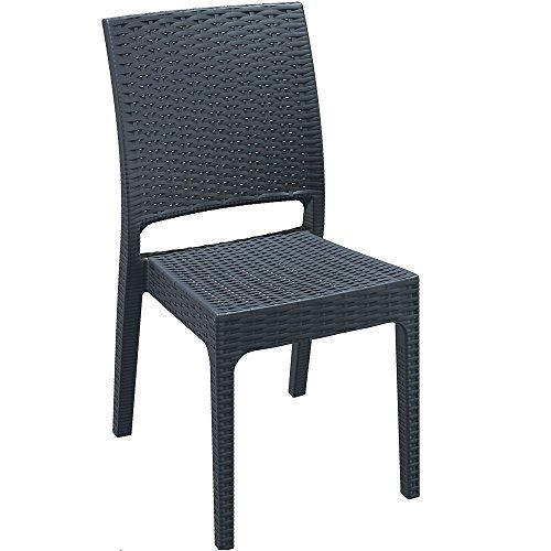 Rattan Effect Stacking Garden Dining Chair - Made From Weatherproof ...