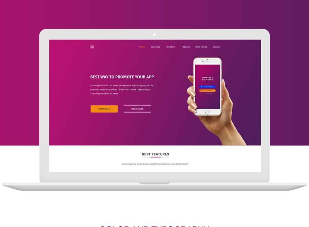 App Landing Page Design App Landing Page Is Designed For App Promotions User Can Use This Freebie For Promot App Landing Page Landing Page Design Landing Page