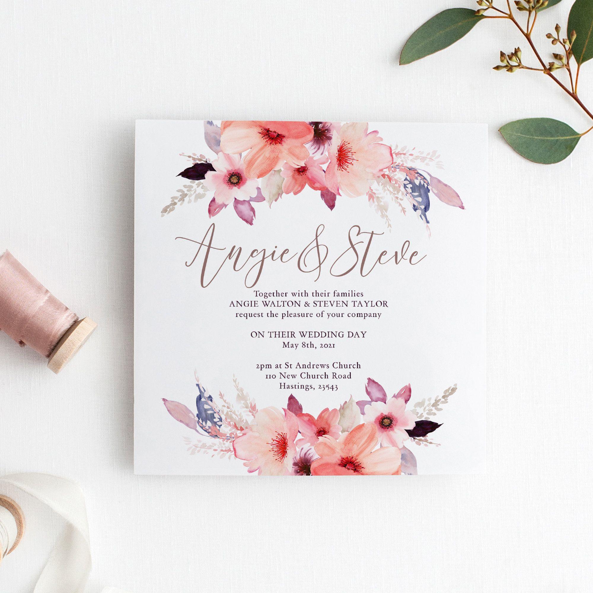 5 Square Wedding Invitation Printable Template Floral  Etsy