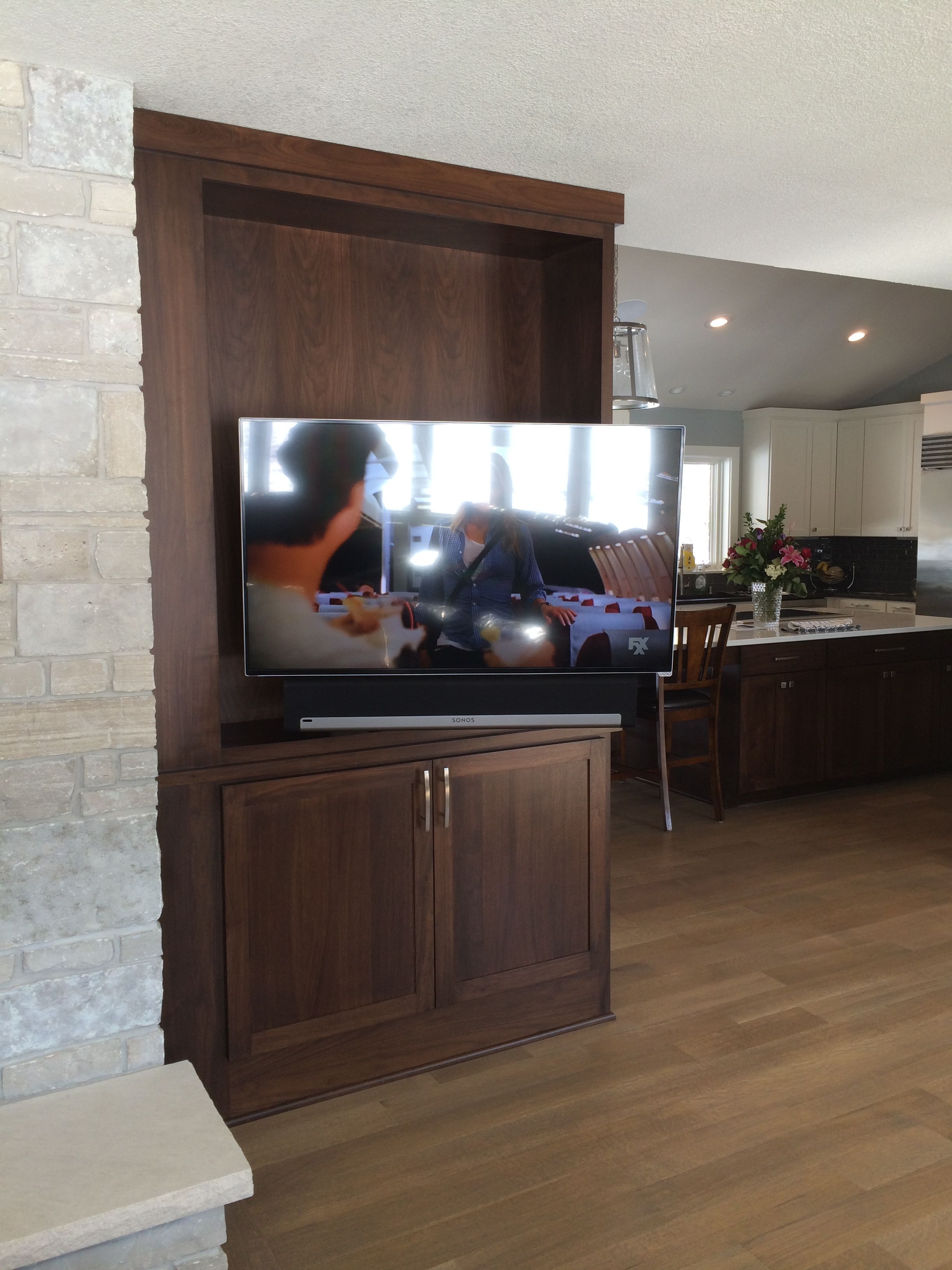 Very Cool Install In Which We Mounted A Flat Panel Tv And Sonos How To Home Theater System Playbar Soundbar