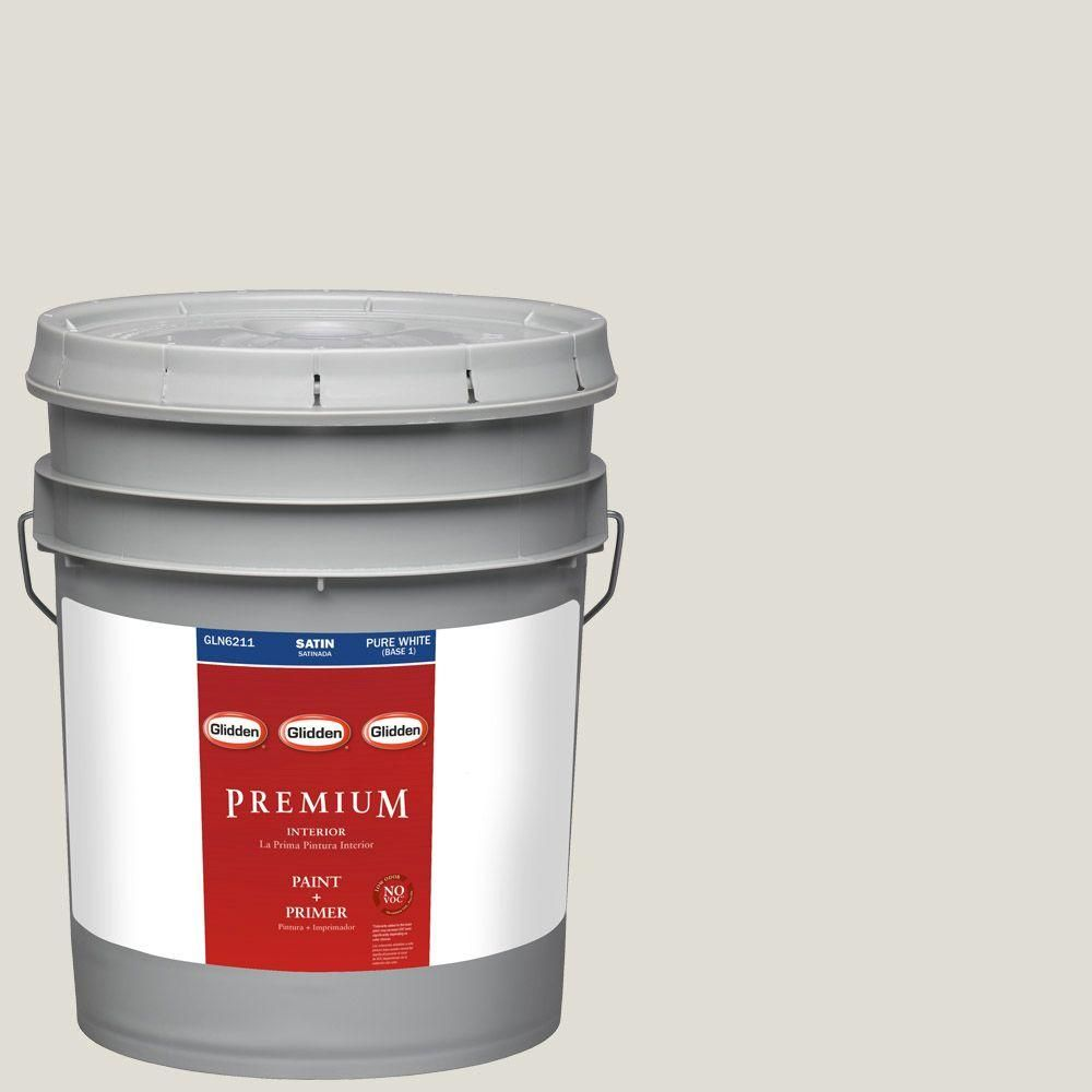 Glidden Premium 5 Gal. #HDGCN03 Silver Birch Satin Latex Interior Paint  With Primer