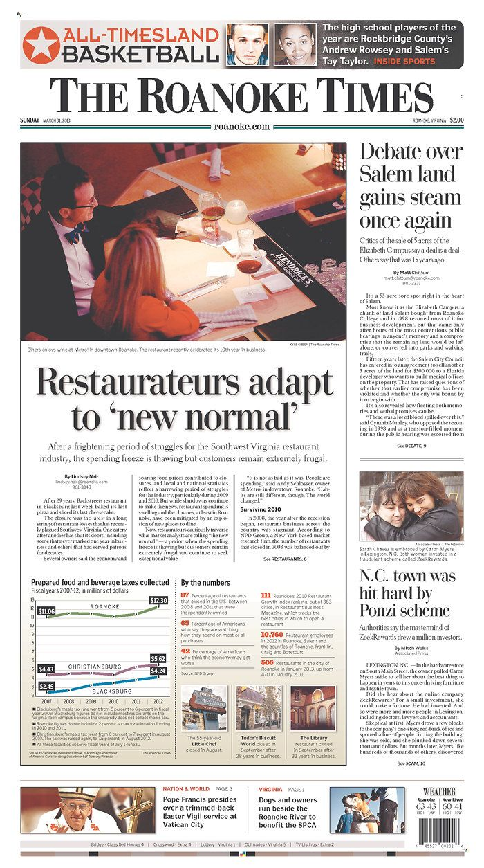 The Roanoke Times front page: March 31, 2013  Sign up for a