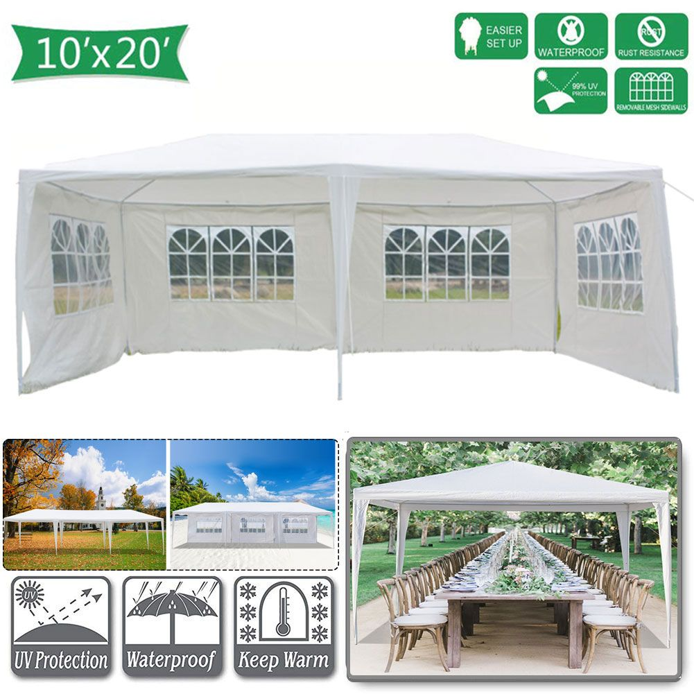 Pabby Yard 10 X 20 Tents And Canopies Outdoor Tents And Canopy White 4 Sides Portable Waterproof Tent With Spiral Tubes Canopy Tents For Outside Party Waterp Canopy Tent Outdoor Canopy