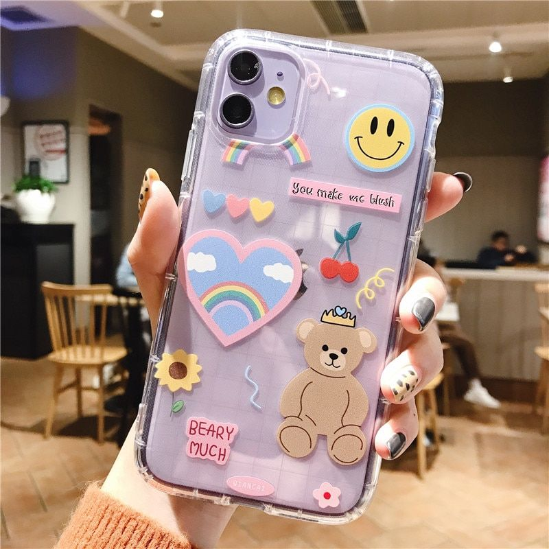 Cartoon Bear Phone Case For Apple Iphone 11 Pro X Xs Max Xr Soft Tpu Back Cover For Iphone 7 8 Plu Fundas Para Iphone Fundas Para Computadoras Fundas Para Ipod