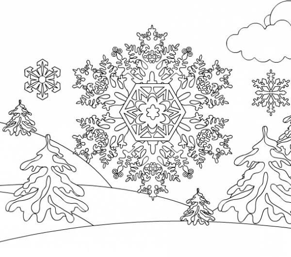 Christmas snowflakes on mountain coloring page kids play color