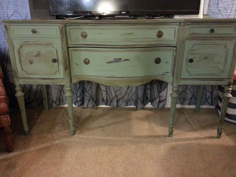 Antique buffet turned into a TV Stand Chalk paint My Work in 2019 Antique tv stands