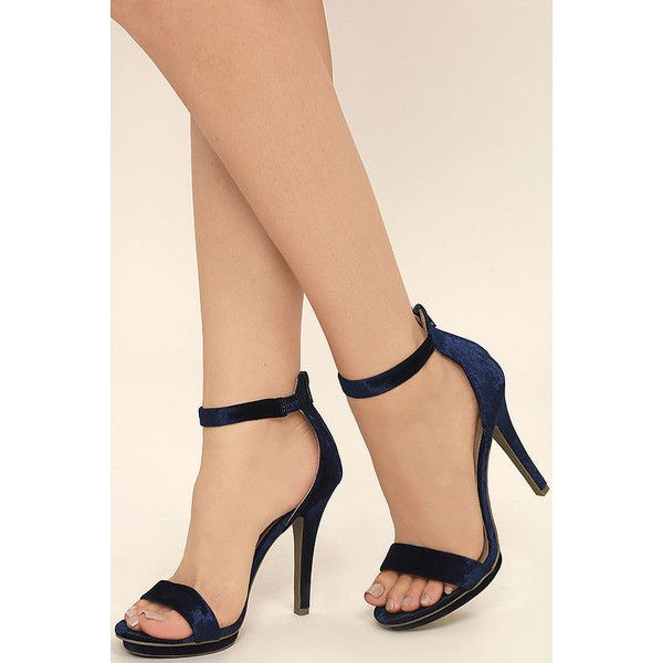 the best attitude hot sale online best online Samantha Navy Velvet Platform High Heel Sandals ($26) ❤ liked on ...