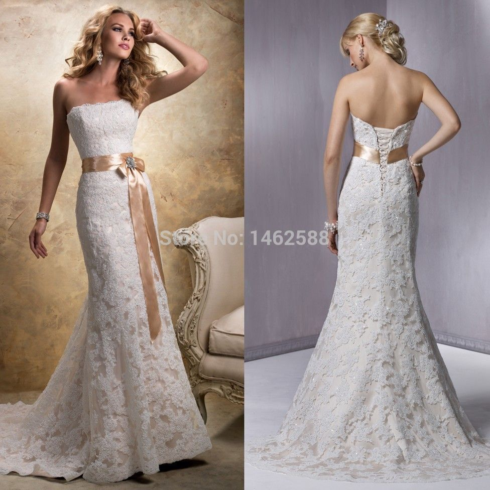 Champagne and ivory wedding dress  Champagne Lace Wedding Dresses  Mermaid Style Strapless Champagne