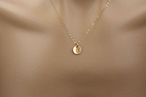 Gold initial necklace Tiny Personilazed Necklace by 7PMboutique
