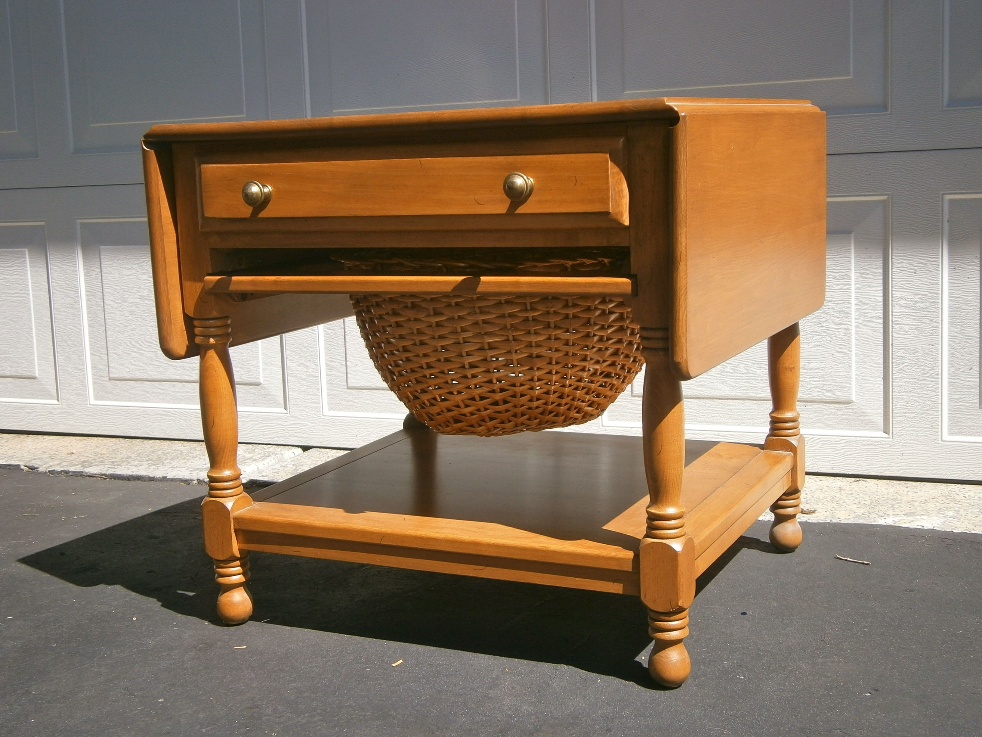 Conant Ball Side Table 1959 drop leaf front drawer and storage