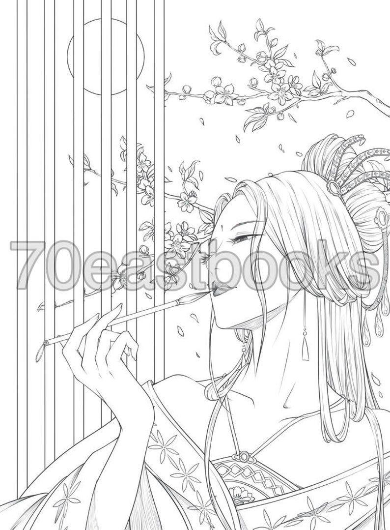 Credits To The Owner Chinesegirl Chinesemakeup Manhua Ancient Princess Beauty Makeup Style Sketch Art Penc Hinh Xăm Nhật Y Tưởng Hinh Xăm Hinh Xăm
