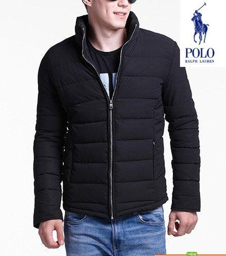 cheap Polo Ralph Lauren Mens Solid Down Coat in Black Outlet