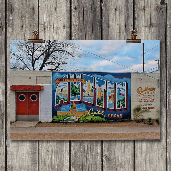 Greetings From Austin Travel Photography Austin Texas Digital Download Fine Art Print Canvas Metal Print Colorful Wall Art Fine Art Prints Art Prints