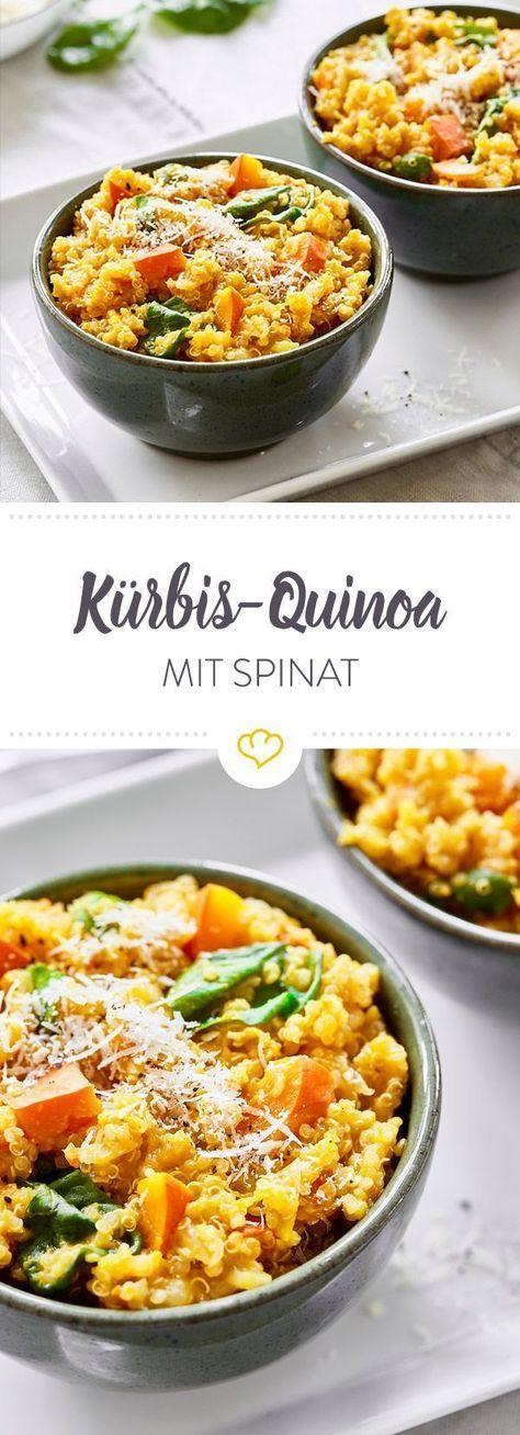 Kürbis-Quinoa mit Spinat und Parmesan #beefhealthyrecipes