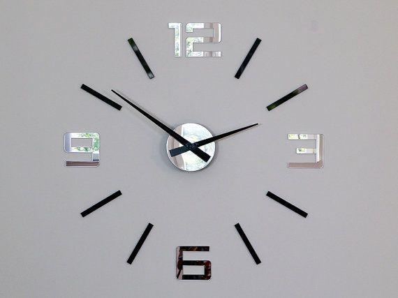 Wall clock large wall clockblack and mirror silver xxl   Clock Decor ...