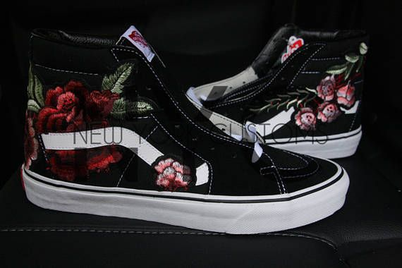 aea0f1fbdf0b Rose Vans Sk8-Hi Floral Custom Men Women   Kids