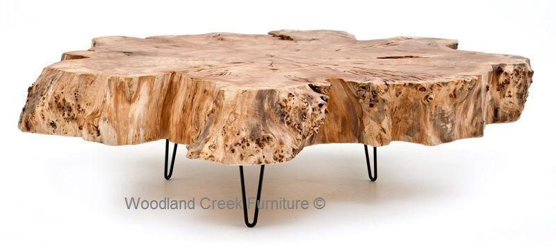 Massieve Side Table.Burl Wood Coffee Table Slab Cocktail Thick Massive Wood